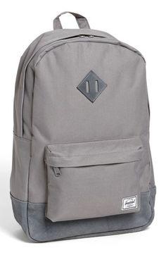 Herschel Supply Co. 'Heritage Plus' Leather Trim Backpack Mochila Herschel, Herschel Backpack, Herschel Heritage Backpack, Grey Backpacks, Stylish Backpacks, College Bags, Herschel Supply Co, Canvas Backpack, Pouch