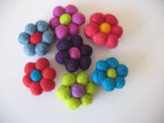 Felt Ball Flower Brooches. #brooches