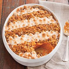 83 Spectacular Thanksgiving Sides | Cornflake, Pecan, and Marshmallow-Topped Sweet Potato Casserole | SouthernLiving.com