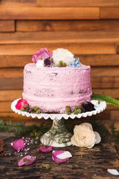 pink wedding cake - photo by Keira Lemonis Photography http://ruffledblog.com/modern-botanical-wedding-inspiration #weddingcake #cakes