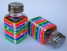 Turn plain cheap salt & pepper shakers into something vibrant & fun. Snow and Rainbow by klio1961, via Flickr