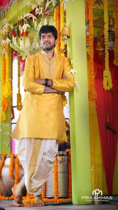 Yellow and White Combo Gents Wedding Dress, Couple Wedding Dress, Wedding Dresses Men Indian, Wedding Outfits For Groom, Simple Wedding Gowns, Wedding Attire, Sherwani Groom, Wedding Sherwani, Indian Men Fashion
