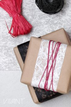 Fiber paper deco ribbon and pink cotton wax cord from Vivant for packaging and decoration. Cord, Wax, Fiber, Ribbon, Gift Wrapping, Packaging, Pink, Cotton, Gifts