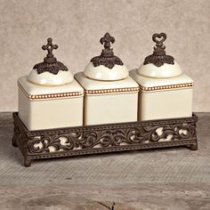 "The GG Collection, 12""L Acanthus Triple Jar Set, Cream"