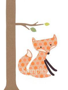 Nursery art print - children woodland fox baby decor
