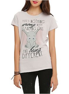"Fitted tee from Disney with a Dumbo design that reads ""There's nothing wrong with standing out and being different."""