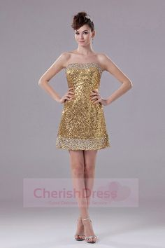 Prom Dresses online shop offers Column Gold Strapless Short Sequin Prom Dress features strapless neckline column/sheath in gold color,mini length sequined dress with zipper back and train for prom party cocktail party graduation . Beautiful Cocktail Dresses, Plus Size Cocktail Dresses, Sequin Cocktail Dress, Sexy Homecoming Dresses, Pageant Dresses, Party Dresses, Homecoming Queen, Plus Size Evening Gown, Formal Evening Dresses