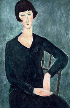 amare-habeo:    Amedeo Modigliani (Italian, 1884-1920) - Seated Woman in Blue Dress, 1918  oil on canvas