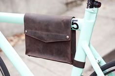 Leather Bike Frame Bag - Dark Chocolate Brown