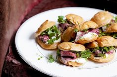 Choux buns with rare roast beef and horseradish cream - The secret to elegant, stress-free entertaining is with these make-ahead cocktail tempters. Roast Beef And Horseradish, Horseradish Cream, Antipasto, Rare Roast Beef, Beef Recipes, Cooking Recipes, Choux Pastry, Savory Pastry, Recipe Images