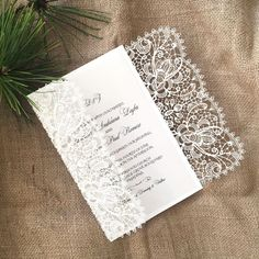 Bohemian Lace speaks unique and elegant. This new lace laser cut wedding invitation by Paper Orchid will make an impression on your guests they will remember forever. Invite includes: - Laser Cut A9 I