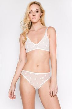 6cf6f654d5d81 Daisy Embroidered Sheer Bralette   Panty Set