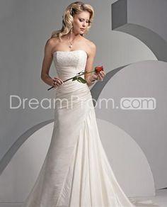 Elegant and Noble A-Line/Princess Strapless Chapel Train Satin Wedding Dresses