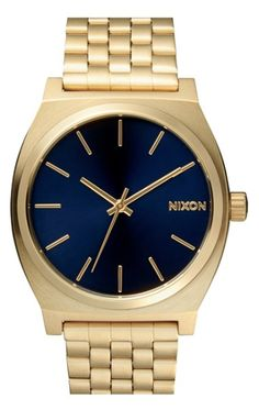 Nixon gold and cobalt watch
