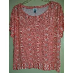 """Coral/Orange/White Print Shirt Coral/Orange/White Print Shirt -pre-owned but in good condition -Old Navy -size XL -approx. 22 1/2"""" bust -approx. 22"""" length Old Navy Tops Tees - Short Sleeve"""