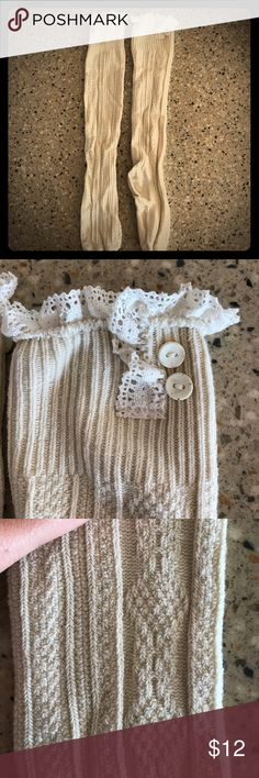 "NWOT Boot socks 👢 Brand new cream colored boot socks! These are so pretty and soft. Knit pattern is detailed with lace and buttons above the boot cuff! They measure approx 22"" from the toe to the top, and approx 16"" from heel to top. Get them at this off-season low price!! Accessories Hosiery & Socks"