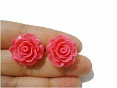 Items similar to Mrs.Pink Rose Rose Stud Earrings on Etsy Rose Earrings, Stud Earrings, Spring 2015, Happy Shopping, Studs, Silver, Pink, Etsy, Color