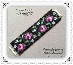 BP-SQUARE-009 - Sweet Roses - Square Stitch Bracelet Pattern, seed bead jewelry, beadweaving tutorial, beaded bracelet, beadwork