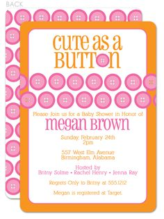 cute as a button orange baby shower invitation swanky press