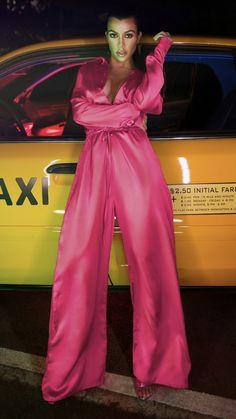 5f4b358c69b Kourtney Kardashian wearing PrettyLittleThing Fuchsia Extreme Oversized  Satin Wide Leg Jumpsuit and PrettyLittleThing Fuchsia Patent Pu Single  Strap ...