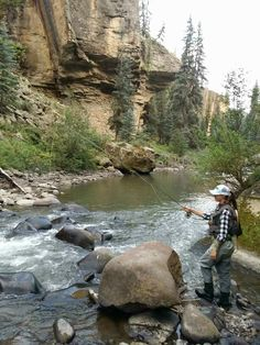 Fly-fishing the Piedra River near Pagosa Springs, CO  Fly fishing   canyon   woman fly fisher   low flows