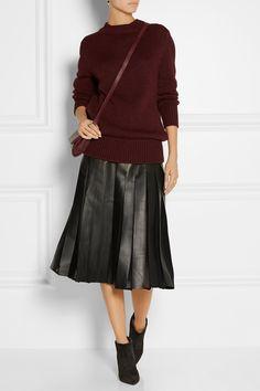 Burberry London|Pleated leather and silk-chiffon midi skirt|NET-A-PORTER.COM
