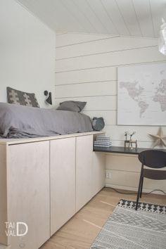 lastenhuone Small Room Bedroom, Kids Bedroom, Bedroom Decor, Furniture Hinges, Home Furniture, Platform Bedroom, Small Room Design, Dream Rooms, New Room