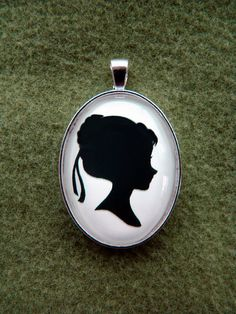 Coronation Anna Silhouette Cameo Pendant Necklace on Etsy, $20.00