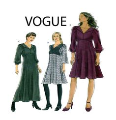 Vogue 8445 Womens Day Dress Empire Waist Fit/Flare Skirt with Length Variations, Collar, Long Blouson Sleeve Size 6-8-10-12- UNCUT by FindCraftyPatterns on Etsy