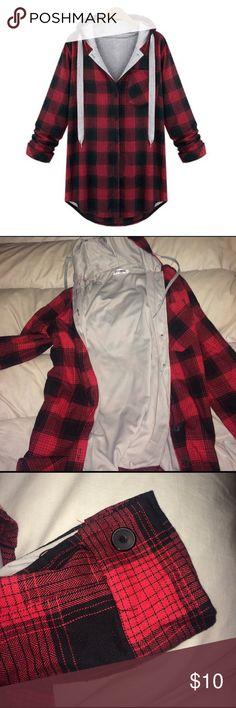 Flannel Hoodie Jacket Flannel hoodie, gray insides, buttons. Feel free to make an offer Jackets & Coats