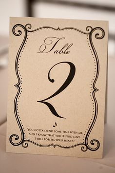 Add your favorite quotes about love on your table numbers.