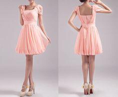 Scoop Neck Cap Sleeves Pink Chiffon Prom Dress, Peach Pink Cap Sleeves Short Knee Length Bridesmaid Dress