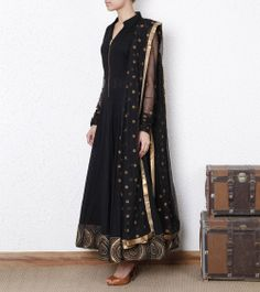 Black Dobby Anarkali Suit