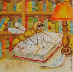 Премудрый комар - бежевый,комар,книги,школа,Батик,подарок,1 сентября,учёный