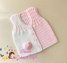 Crochet Baby Sweater Pattern, Baby Sweater Patterns, Baby Knitting Patterns, Baby Cardigan, Knit Vest, Knitting Kits, Hand Knitting, Baby Pullover Muster, Rum