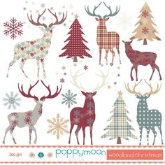 woodland christmas deers and trees, printable digital clipart set ($1.28) ❤ liked on Polyvore featuring home, home decor, holiday decorations and holiday reindeer decorations