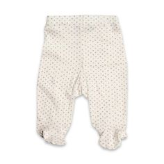 MilkBarn Footed Pants White with Lavender Dots