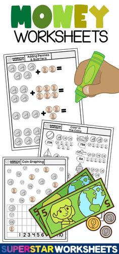 These free printable, counting money, worksheets will help your students build an understanding of coin recognition, coin value, addition, subtraction, skip counting, place value, and more. Counting Money Worksheets, Subtraction Worksheets, Free Kindergarten Worksheets, Free Printable Worksheets, Math Activities, Printables, Skip Counting, Students, Board