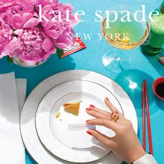 Kate Spade colors: red, blue and champagne!