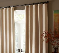 $84 Flax Linen Drape with Blackout Liner | Pottery Barn