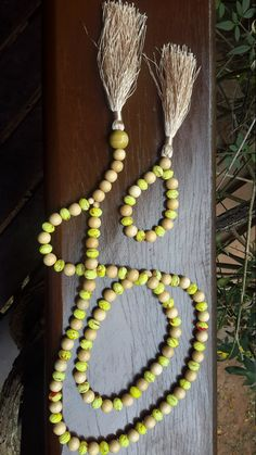 yellow crystal and wood mala composition - conjunto de japamalas - yellow - wood - crystal - necklace - bracelets - meditation - buddhism