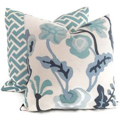 $60 18x18 Either print Aqua Aga Reverse Quadrille China Seas Pillow Cover by PopOColor