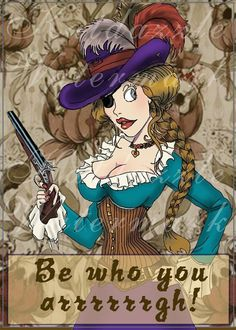 Pin Up Girl Pirate Be who you argggg art print or by katdazzle, $5.00