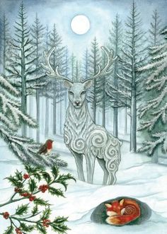 Winter Wonder : Yule/Winter Solstice : Cards by Occasion / Recipient : Home : Pagan/spiritual and fairy/fantasy greeting cards, prints and gifts at Moondragon Christmas Pictures, Christmas Art, Xmas, Fantasy Kunst, Fantasy Art, Illustration Noel, Winter Illustration, Winter Wonder, Winter Art