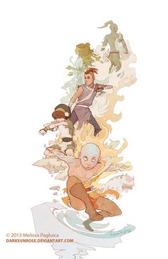 Avatar the Last Airbender: Aang and the group - tribute by DarkSunRose.deviantart.com on @deviantART