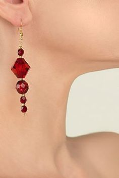 Eglantine Fire Fire, Bling, Drop Earrings, Red, Baby, Collection, Jewelry, Fashion, Jewerly