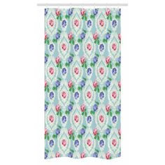 Ambesonne Shabby Chic Shower Curtain Fabric Bathroom Decor Set with Hooks Victorian Style Baroque Floral Figures Rococo Inspired Flourish Design Artprint Green Mint 75 Inches Long