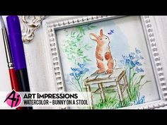 Bonnie with Art Impressions stamps will show you how to use masking and water coloring techniques to combine a chair, bunny and flowers stamps to make this sweet bunny sitting on a stool art work. Watercolor Cards, Watercolor Paintings, Water Color Markers, Flower Cart, Flower Pots, Flowers, Art Impressions Stamps, Colouring Techniques, Watercolour Tutorials