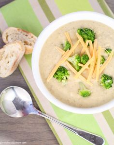 Crock Pot Broccoli Cheese Soup- Garnish with Lemon #slowcooker #soup