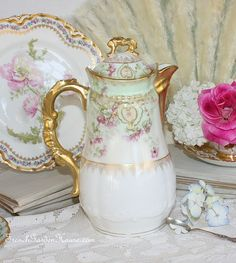 Stunning Antique French Limoges Chocolate Pot Violet Flowers - http://www.frenchgardenhouse.com/catalog.php?item=4403